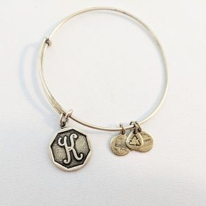"Alex and Ani Gold Initial ""K"" Charm Bracelet"